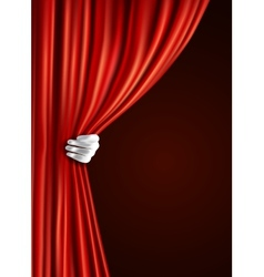 Theater curtain with hand vector