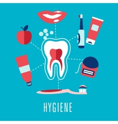 Flat dental hygiene concept in blue background vector