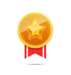 3d gold medal and red ribbon vector