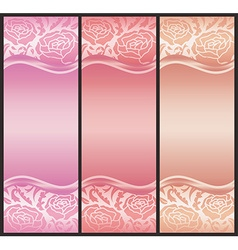 Vertical voucher with rose decoration in pink vector