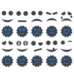 Tools gears smiles emoticons icons vector