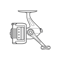Outline fishing reel vector