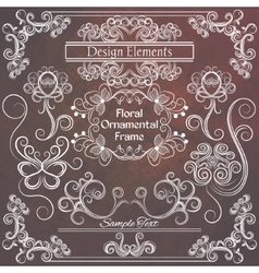 floral design elements Brown and white vector image