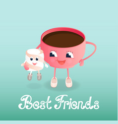 A cup of coffee and a marshmallow friendship day vector