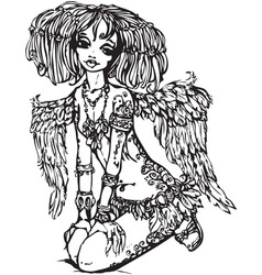 angel girl vector image vector image