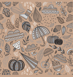 autumn seamless pattern brown background vector image vector image