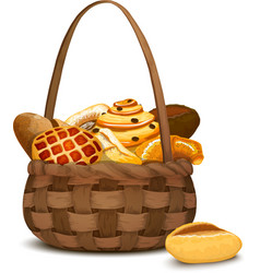 Bakery in basket vector