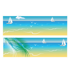 Banners with sea and palm trees vector