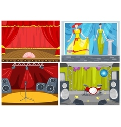 Cartoon set of theater and disco background vector