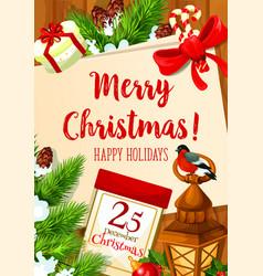 Christmas 25 december holiday greeting card vector