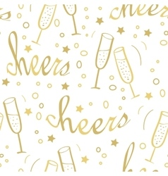 Christmas seamless background with champagne vector