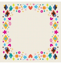 Cute hearts stars flowers and diamond shapes frame vector