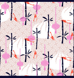 Dim sum and bamboo simple seamless pattern vector