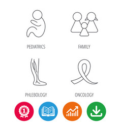 Family pediatrics and phlebology icons vector