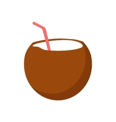 Fresh Drinking Coconut Cocktail vector image
