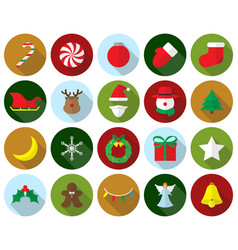 merry christmas - colorful icons vector image vector image