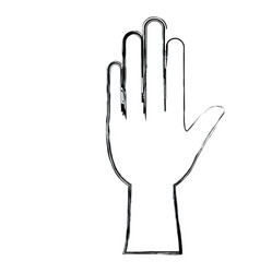 Monochrome blurred silhouette of left hand vector