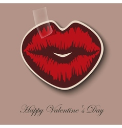 Paper hearts lips kiss sticker vector