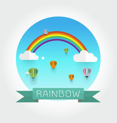 rainbow and clouds in the sky vector image vector image