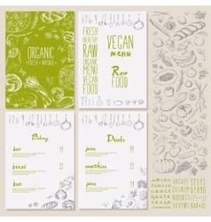 Restaurant organic natural vegan food menu set vector