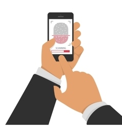Scanning fingerprint on phone vector image