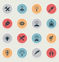 set of simple visual art icons vector image vector image