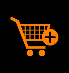 Shopping cart with add mark sign orange icon on vector