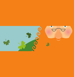 St patricks day banner leprechaun face head with vector