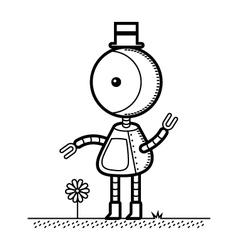 Top Hat Robot vector image vector image