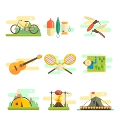 Tourist Summer Equipment Flat Set vector image