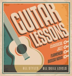 Vintage poster design for guitar lessons vector