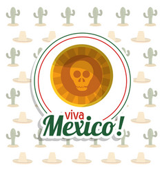 Viva mexico skull invitation party vector