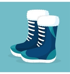 Winter season boots icon vector