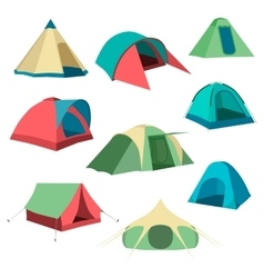 Set of tourist tents Collection of camping tent vector image