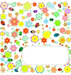 Seamless texture with flowers and ladybirds floral vector image