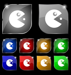 Pac man icon sign set of ten colorful buttons with vector