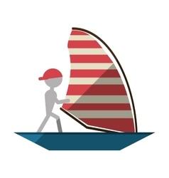 Man sailing ship boat travel design shadow vector
