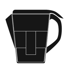 Water jug with filter cartridge icon in black vector