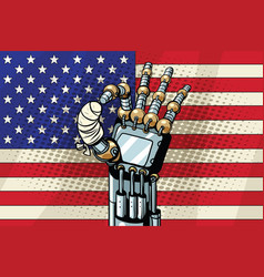Robot ok gesture the us flag broken bandaged vector
