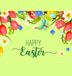 Easter happy holiday greeting card flowers vector