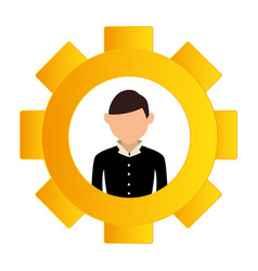 gear wheel frame with silhouette executive man vector image