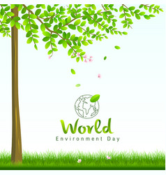 World environment day tree and flower nature vector
