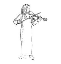 young girl playing the violin violinist vector image