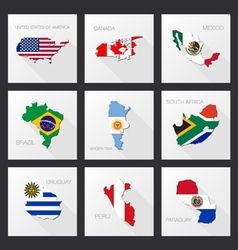 Flat icons - flags of world countries vector