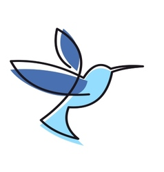 Hovering blue hummingbird vector image