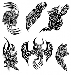 wild animals tattoo vector image