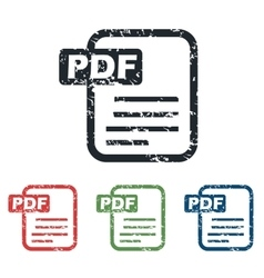 Pdf file grunge icon set vector