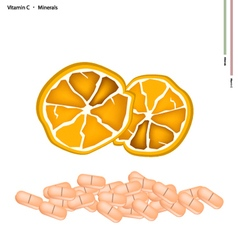 Ripe orange with vitamin c on white background vector