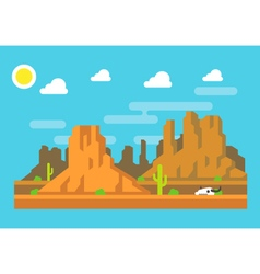 Wild west arizona mountain flat design vector