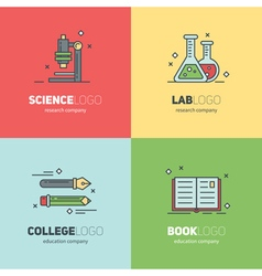 Thin lined set of logos for scientific research vector